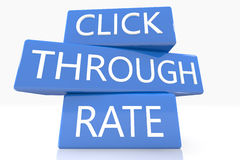 Click Through Rate. 3d render blue box with text Click Through Rate on it on white background with reflection stock photo