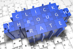 Click Through Rate. Puzzle 3d render illustration with block letters on blue jigsaw pieces stock image