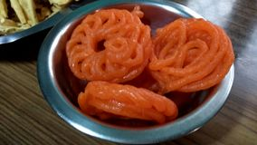 Sugary Imrati. A click of sugary and sweet Imrati Indian sweet in a bowl royalty free stock photos