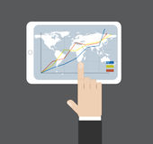 Click on tablet and world map background. Hand click on tablet diagramm and world map background. Vector illustration. Data source: NASA Stock Photos