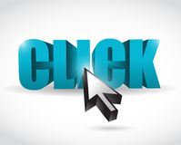 Click text and cursor illustration design Stock Images