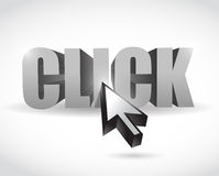 Click text and cursor illustration Stock Photo