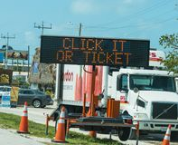 Click it or ticket sign in Florida Keys. Florida, USA - February 20, 2019: Click it or ticket sign in Florida Keys stock image