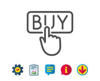 Click to Buy line icon. Online Shopping sign. Stock Photo