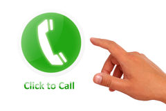 Click to call concept. Hand call button isolated over white stock photos
