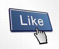 Clicked Like Button. Illustration for Social Media Stock Photos