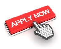 Clicking a apply now button. Hand cursor clicking a apply now button, 3d render Stock Photos