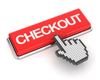 Clicking a checkout button Stock Photos
