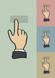 Clicking Finger Gesture Vector Cartoon Stock Image