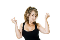 Clicking fingers. Studio photo of a woman clicking fingers royalty free stock images