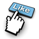 Clicking Like Button. On social network royalty free illustration