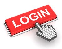 Clicking a login button Stock Image