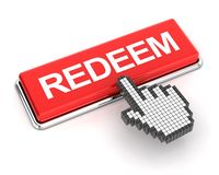 Clicking a redeem button, 3d render Royalty Free Stock Photography
