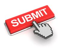 Clicking a submit button. Hand cursor clicking a submit button, 3d render Royalty Free Stock Image