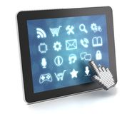 Clicking on a tablet with touchscreen interface, Royalty Free Stock Images
