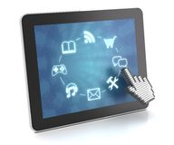 Clicking on a tablet with touchscreen interface. 3d render, white background Stock Photo