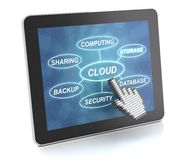 Clicking on a tablet with words related to cloud Royalty Free Stock Image
