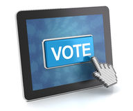 Clicking the vote button on a digital tablet, 3d render Stock Photo