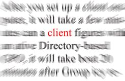 Client. Blurry image of the word client Royalty Free Stock Photos