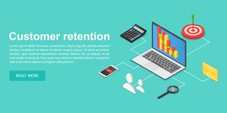 Client attraction concept banner, isometric style stock illustration