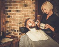 Client in barber shop Royalty Free Stock Photo