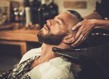 Client in barber shop Stock Photos