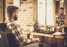Client in a barber shop Stock Image