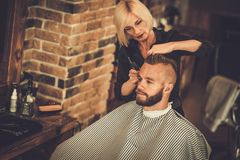 Client in barber shop Royalty Free Stock Photos