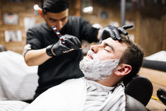 Client of barber Royalty Free Stock Photo