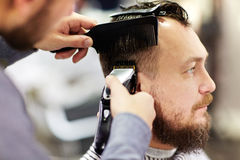 Client of barbershop Stock Images