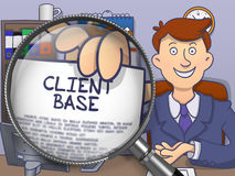 Client Base through Magnifier. Doodle Concept. Royalty Free Stock Photography