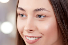 Client Before Of Permanent Make Up Of Eyebrows. Stock Photos
