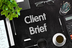 Client Brief on Black Chalkboard. 3D Rendering. royalty free stock photography