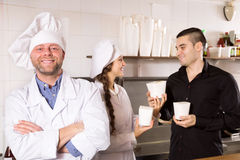 Client buying take-away food Stock Image
