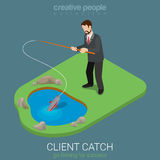 Client catch businessman gone fishing flat 3d isometric vector Royalty Free Stock Image