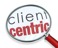 Client Centric Magnifying Glass Words. Client Centric words under a red magnifying glass illustrating a business model focused on the needs of serving customers Royalty Free Stock Image