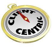 Client Centric Words Gold Compass Aiming Please Customers Stock Image