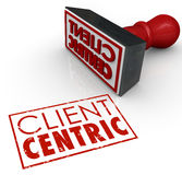 Client Centric Words Stamped Certified Customer Focused Company Stockbild