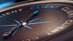 Client. Compass with needle pointing the word client, concept image to illustrate CRM, customer relationship management Royalty Free Stock Photos