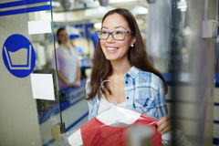 Client of dry cleaning service Royalty Free Stock Image