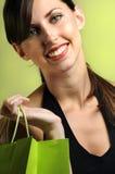 Client féminin heureux Photo stock