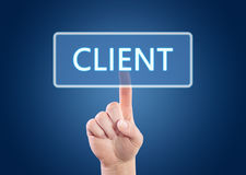 Client. Hand pressing Client button on interface with blue background Stock Photo