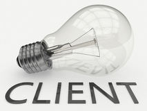 Client. Lightbulb on white background with text under it. 3d render illustration Stock Images