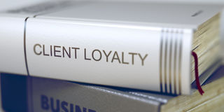 Client Loyalty. Book Title on the Spine. 3D. Stock Photography
