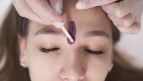 The client is lying on couch during eyebrowes treatment at studio beauty, beautician depilating and shaping brows at. Beauty salon, applying a bit of wax stock video footage