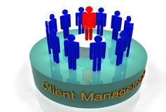 Client management. A 3d illustration for the concept of client management Stock Photo