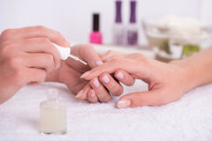 Client and manicurist in manicure salon Stock Photos