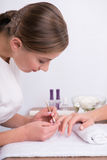Client and manicurist in manicure salon Royalty Free Stock Photography