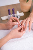 Client and manicurist in manicure salon Stock Photo