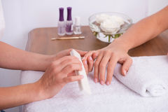 Client and manicurist in manicure salon Royalty Free Stock Image